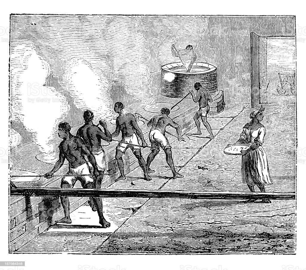 African slaves boiling sugarcane 1882 royalty-free stock vector art