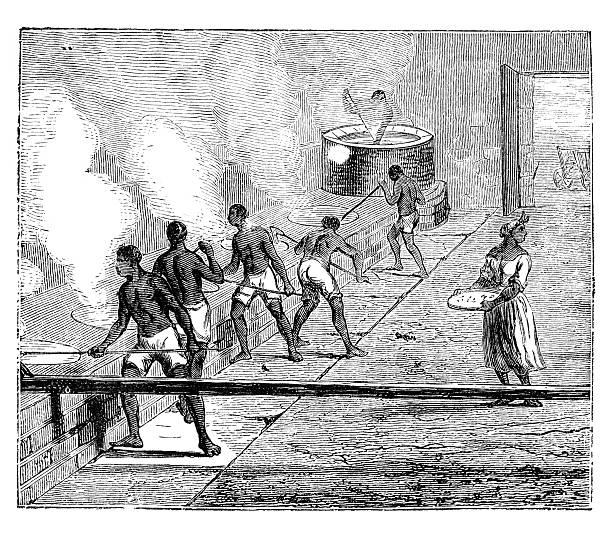 African slaves boiling sugarcane 1882 vector art illustration