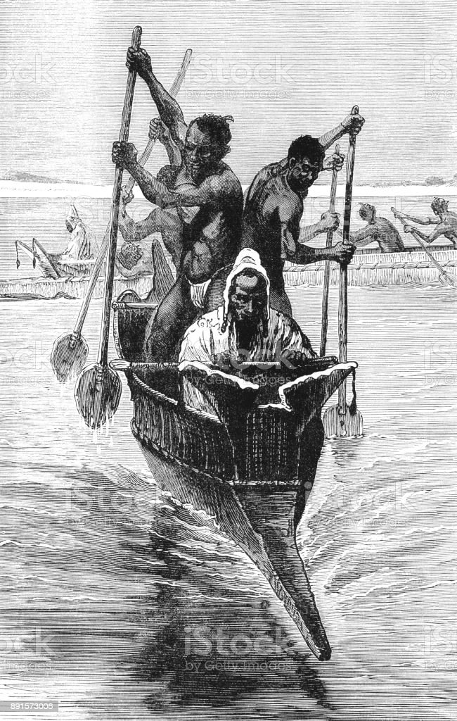 African slaves paddling an Arab pirogue bearing a slave-dealer vector art illustration