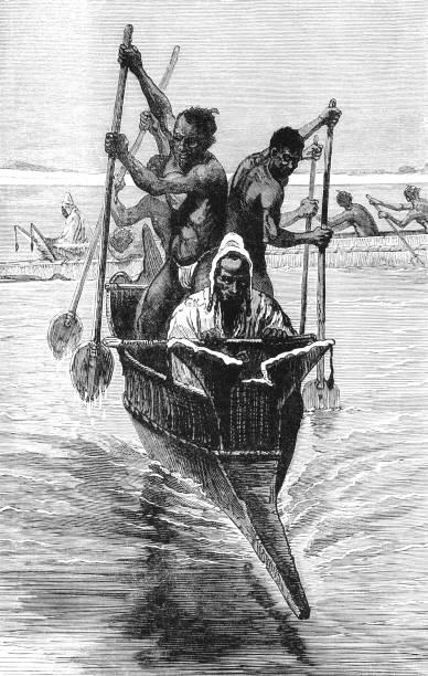 African slaves paddling an Arab pirogue bearing a slave-dealer vector art illustration