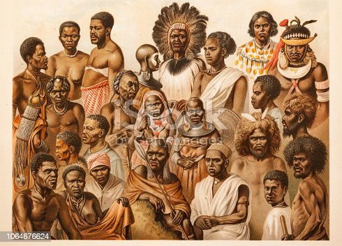 African tribal culture men and women of different tribes Original edition from my own archives Source : Brockhaus Conversationslexikon 1887