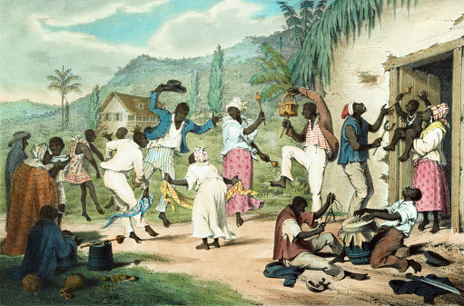 Vintage illustration features African Trinidadians playing music and dancing.