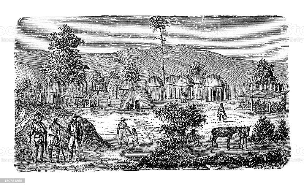 African village (antique wood engraving) vector art illustration