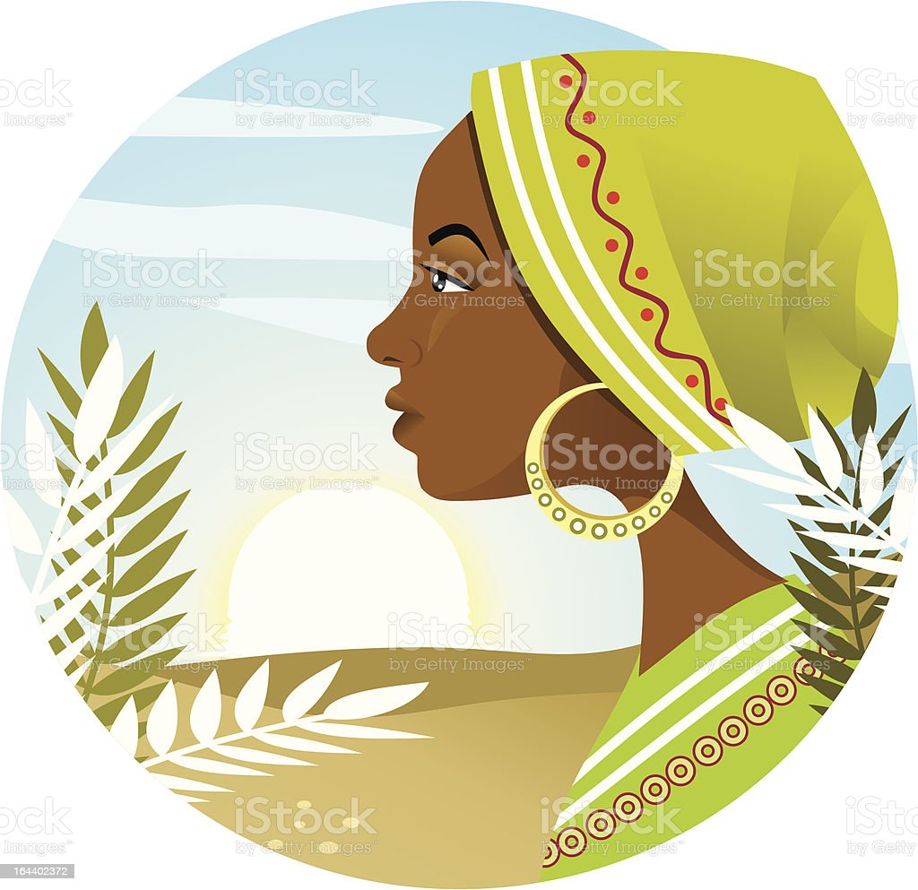 "African Woman ""Vector illustration portraying a young african woman's profile, with a sunrise background. .cdr and .ai files included."" 18-19 Years stock vector"