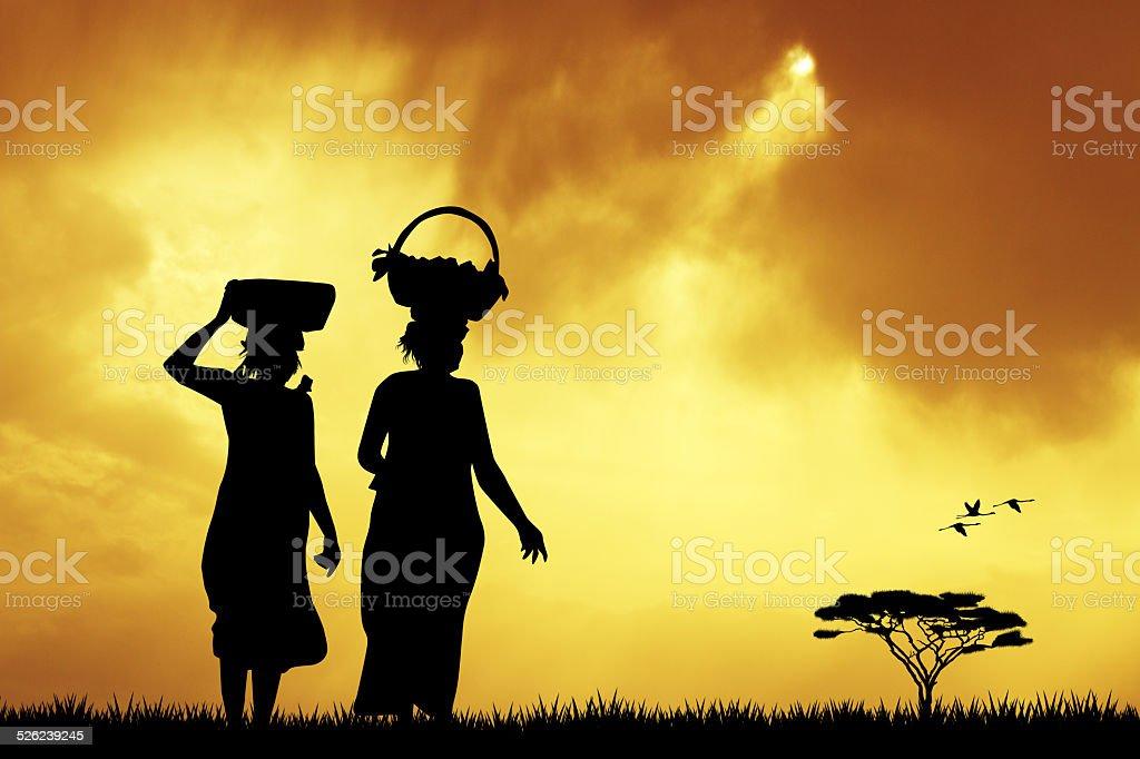 African women vector art illustration