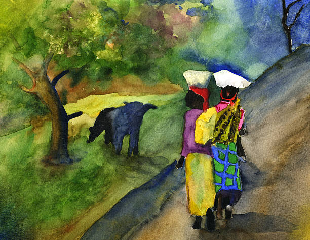 ilustraciones, imágenes clip art, dibujos animados e iconos de stock de las mujeres africanas en acuarela - africano americano