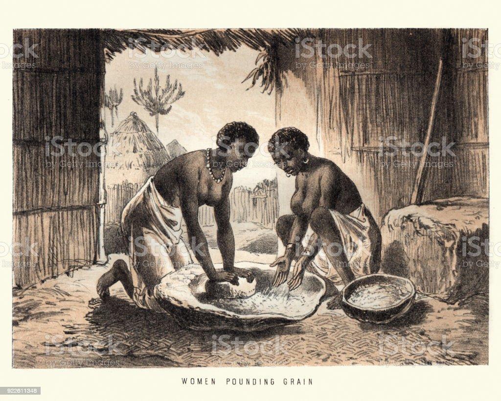 African women milling grain mortar and pestle vector art illustration