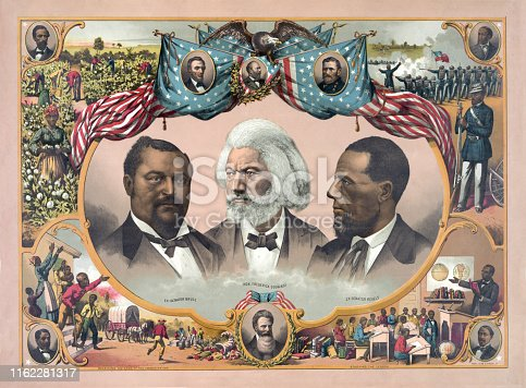 Vintage illustration features portraits of African-American heroes, including Blanche Kelso Bruce, Frederick Douglass, and Hiram Rhoades Revels, surrounded by scenes of African-American life in the mid 1800s and portraits of Abraham Lincoln, James A. Garfield, and Ulysses S. Grant.