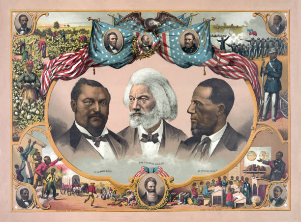 African-American Heroes Vintage illustration features portraits of African-American heroes, including Blanche Kelso Bruce, Frederick Douglass, and Hiram Rhoades Revels, surrounded by scenes of African-American life in the mid 1800s and portraits of Abraham Lincoln, James A. Garfield, and Ulysses S. Grant. us president stock illustrations