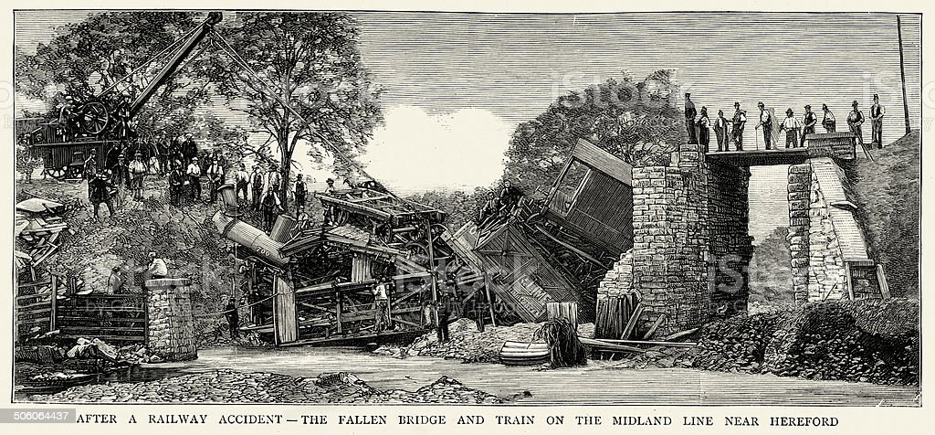 After a Railway Accident royalty-free after a railway accident stock vector art & more images of 1880-1889