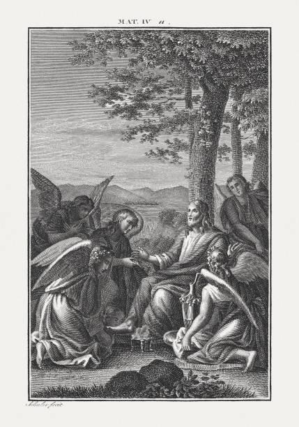 After Jesus' temptation came the angels and served him (Matthew-4) vector art illustration