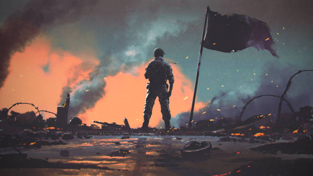 after the war in battlefield soldier standing alone after the war in a battlefield, digital art style, illustration painting conflict stock illustrations