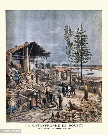 Vintage engraving of Aftermath of failure of the Bouzey dam, near Epinal, 1895. The flood resulting from the dam failure, along the valley of the River Aviere, drowned 85 people and extensively damaged building and structures. (la catastrophe de Bouzey. Apres le sinistre)