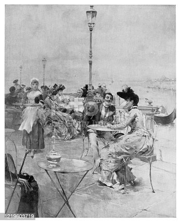 Afternoon in Venice - Scanned 1894 Engraving
