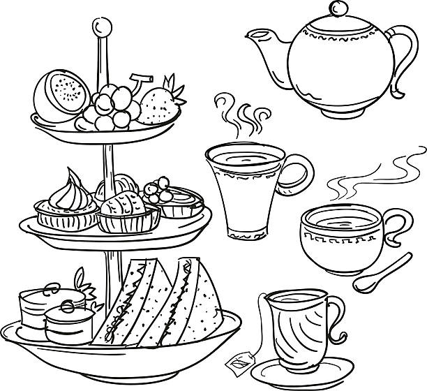 Afternoon tea set in sketch style Sketch drawing of high tea set food. teapot stock illustrations