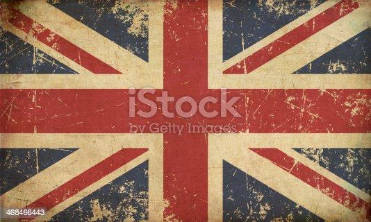 Illustration of an rusty, grunge, aged British Flag.