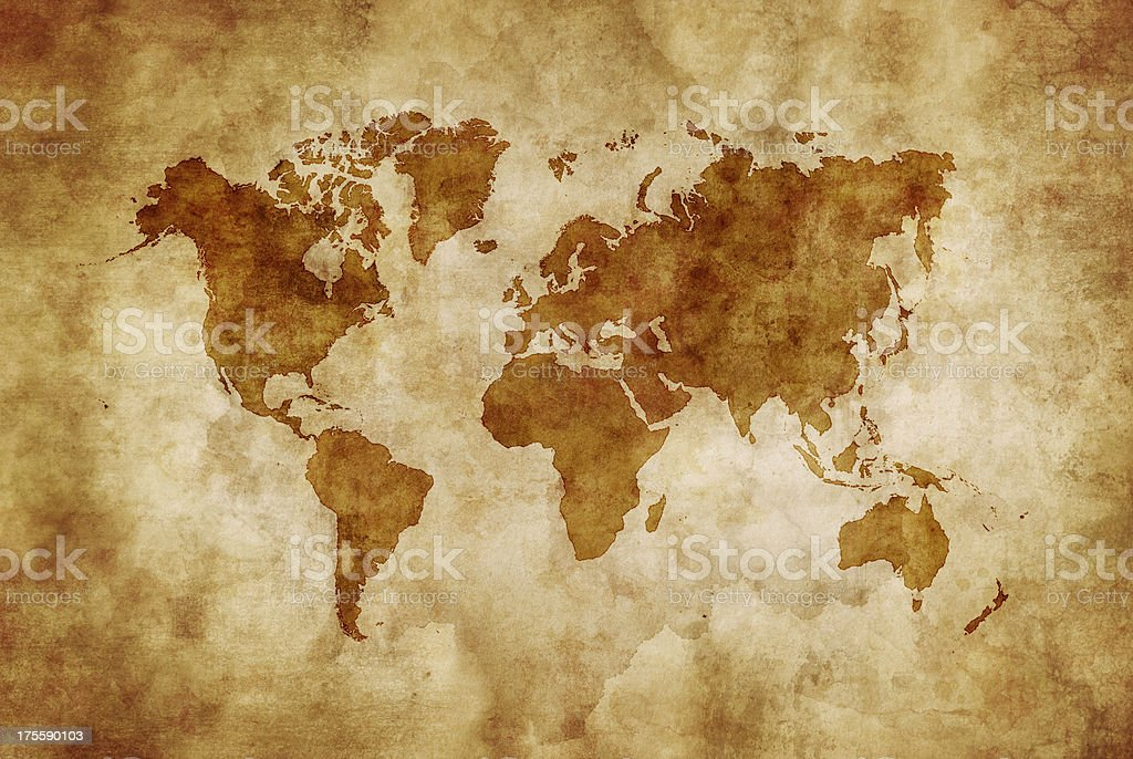 Aged world map vector art illustration