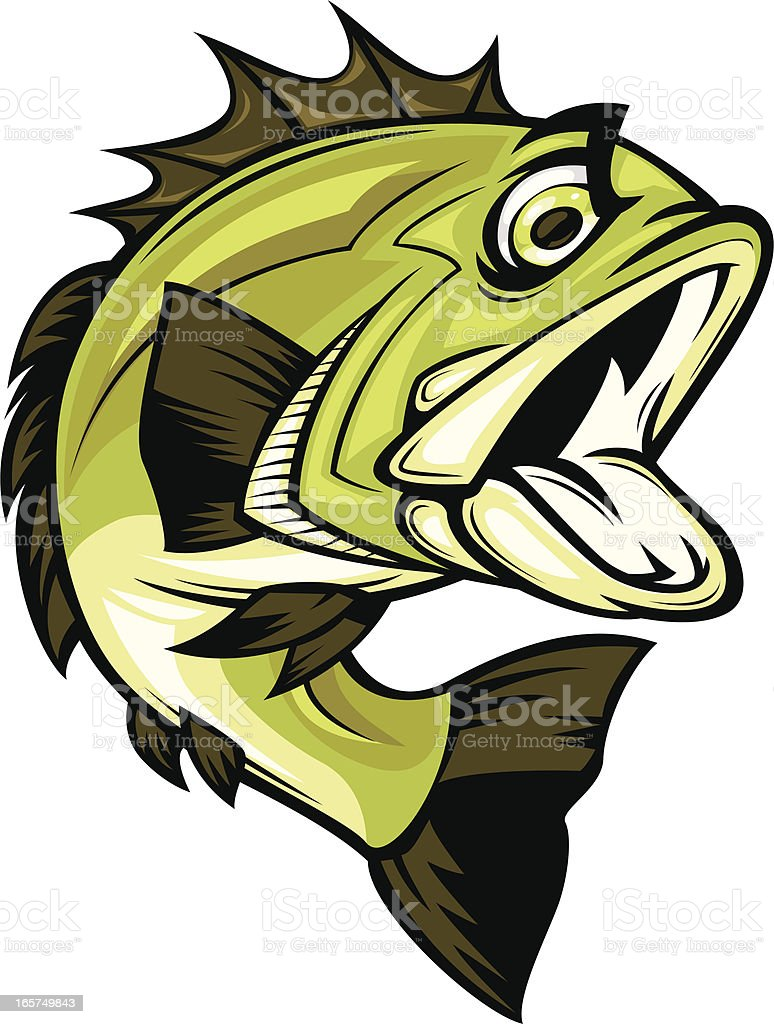 aggressive cartoon bass royalty-free stock vector art