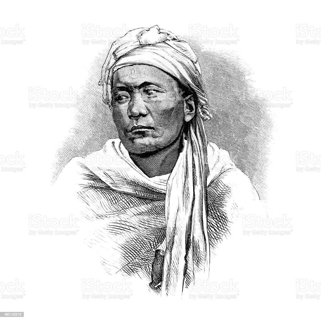 Aghan Culture - Portrait of a Hazara Man circa 1870s royalty-free aghan culture portrait of a hazara man circa 1870s stock vector art & more images of 19th century style