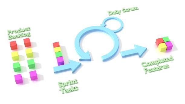 Agile scrum software development methodology diagram on white vector art illustration