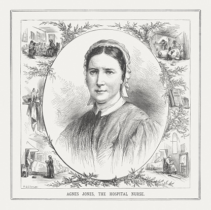 Agnes Elizabeth Jones (1832 - 1868) of Fahan, County Donegal, Ireland became the first trained Nursing Superintendent of Liverpool Workhouse Infirmary. She was at their sacrificially service only 35 years old and is today still a role model for many people. Wood engraving, published in 1873.