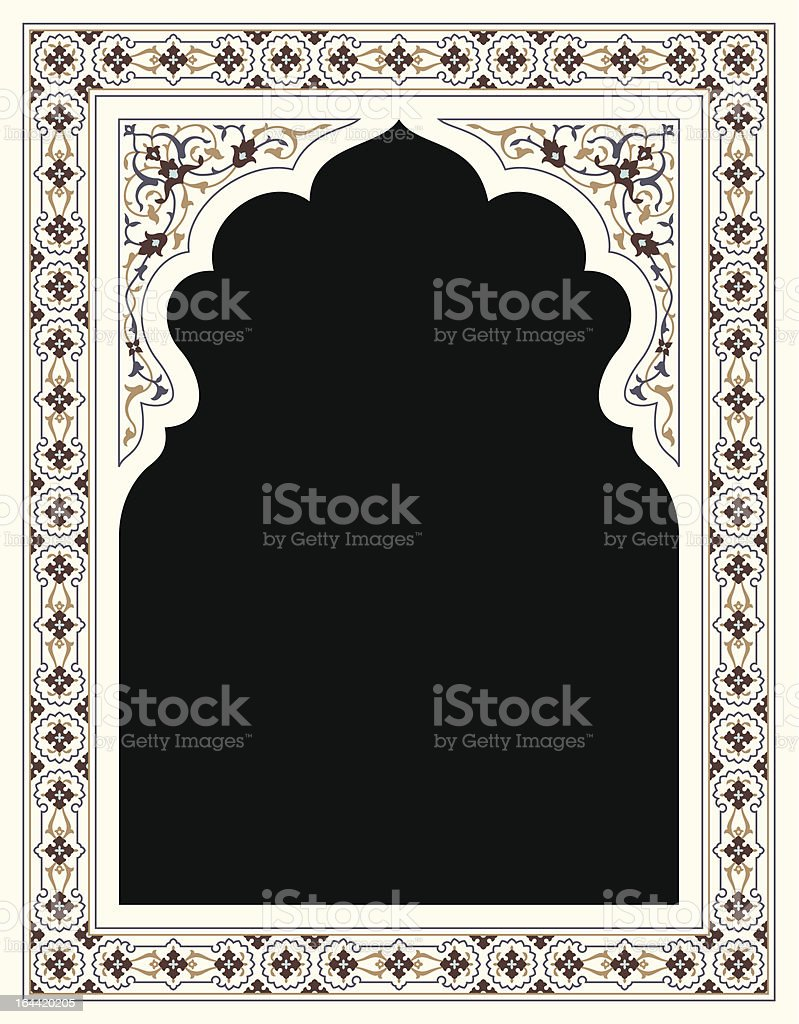 Agra Floral Frame vector art illustration