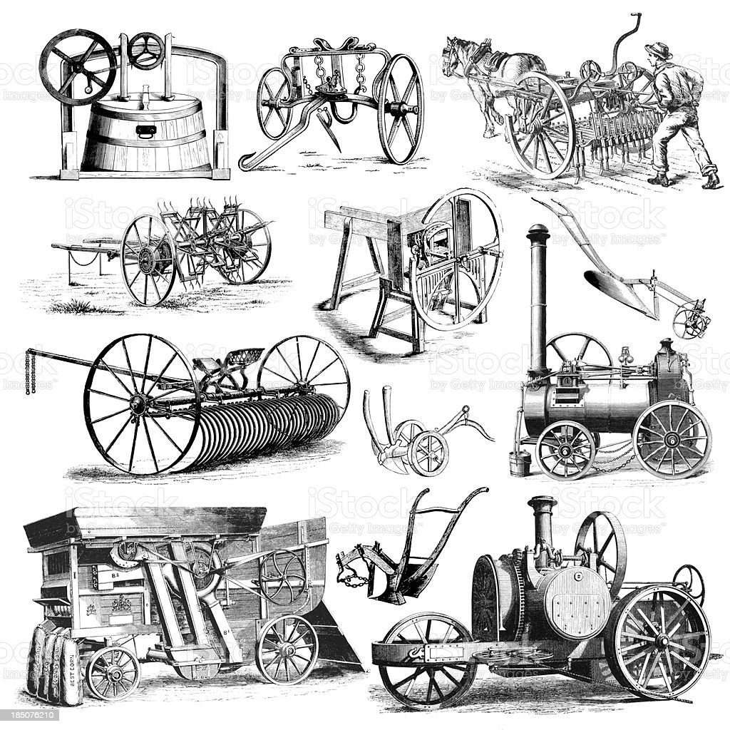 Agricultural Farmers Machinery and Equipment Illustrations | Vintage Farming Clipart vector art illustration