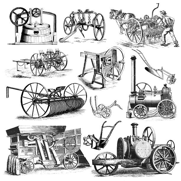"""Agricultural Farmers Machinery and Equipment Illustrations   Vintage Farming Clipart """"Collection of XIX-century illustrations of machines and equpment for agriculture. Illustrations published in Systematischer Bilder-Atlas zum Conversations-Lexikon, Ikonographische Encyklopaedie der Wissenschaften und Kuenste (Brockhaus, Leipzig) in 1839 and 1875.CLICK ON THE LINKS BELOW FOR HUNDREDS MORE SIMILAR IMAGES:"""" pitchfork agricultural equipment stock illustrations"""