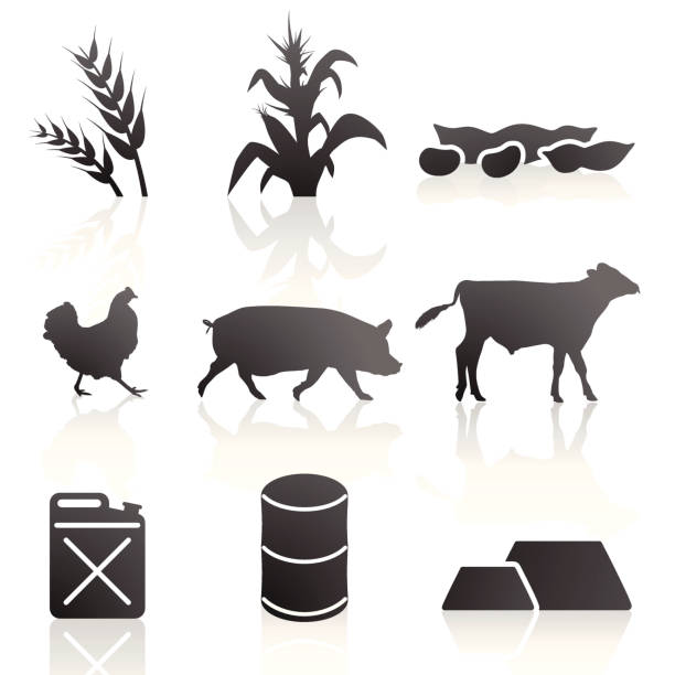 Agriculture and Commodity Symbols vector art illustration