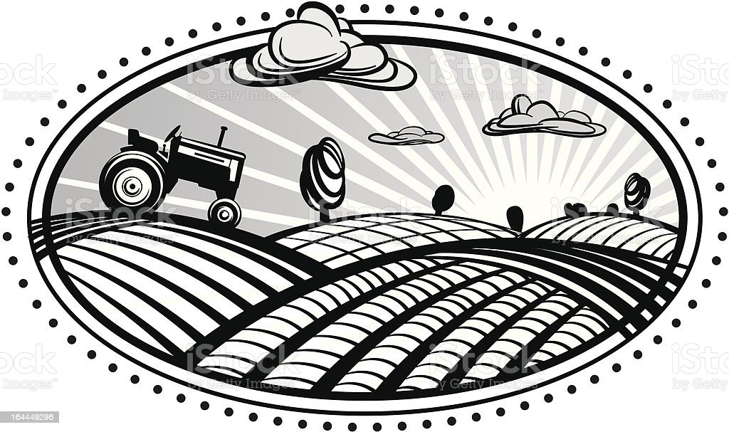 Agriculture landscape  with tractor royalty-free agriculture landscape with tractor stock vector art & more images of 1960-1969