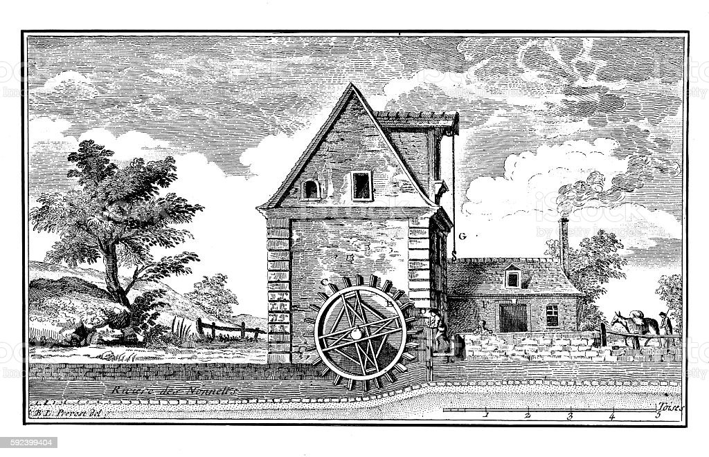 Agriculture: Watermill (antique engraving) vector art illustration