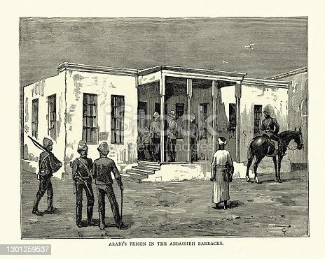Vintage illustration of Ahmed ʻUrabi's prison in the Abbassieh barracks. Ahmed ʻUrabi also known as Ahmed Ourabi or Orabi Pasha, was an Egyptian nationalist and an officer of the Egyptian army., 19th Century