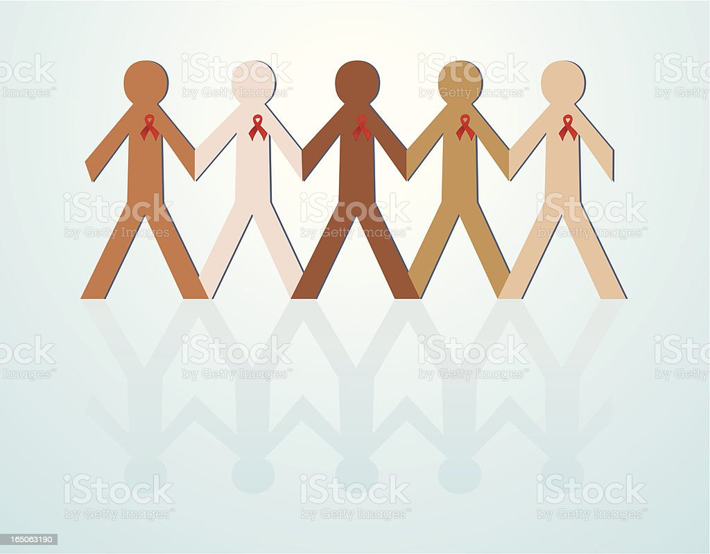 Aids Awareness Paper Chain vector art illustration