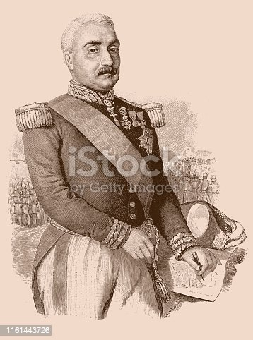 Illustration of a Aimable-Jean-Jacques Pélissier, 1st Duc de Malakoff (6 November 1794 – 22 May 1864), was a Marshal of France