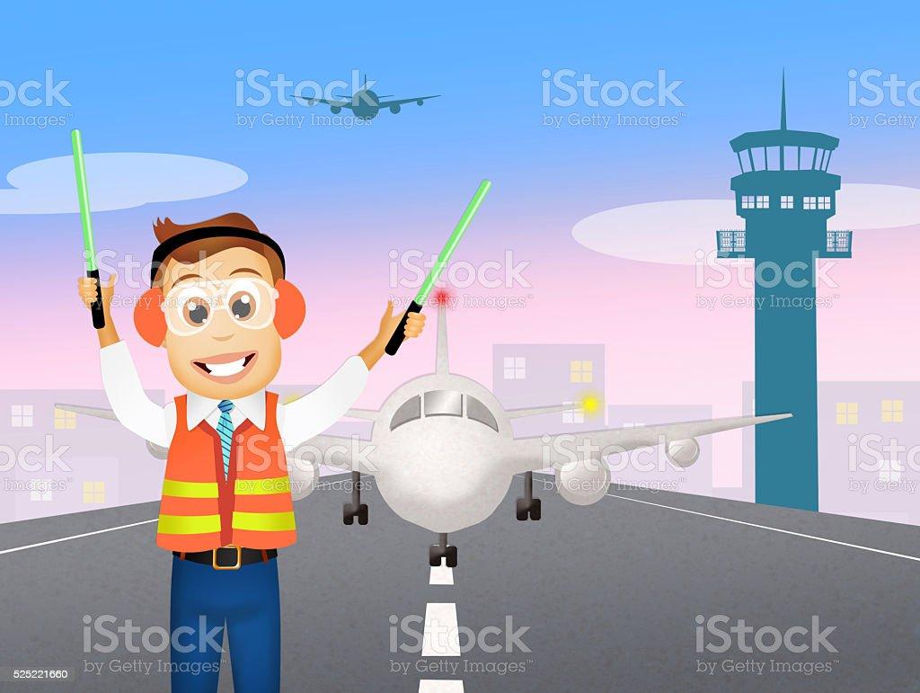 air traffic controller vector art illustration