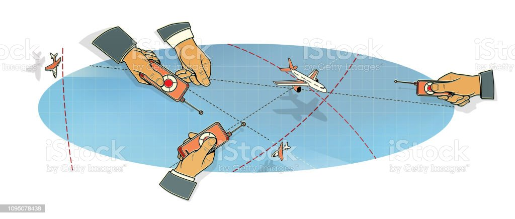 Air Traffic Controllers And Flight Control Stock Illustration
