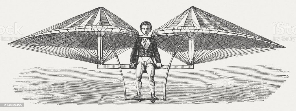 Air vehicle, by Jean-Pierre Blanchard, wood engraving, published in 1877 vector art illustration