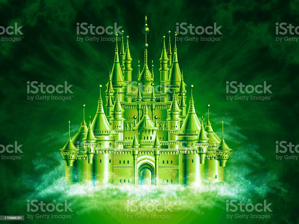 Airbrushed Fairy Tale Palace [3] vector art illustration