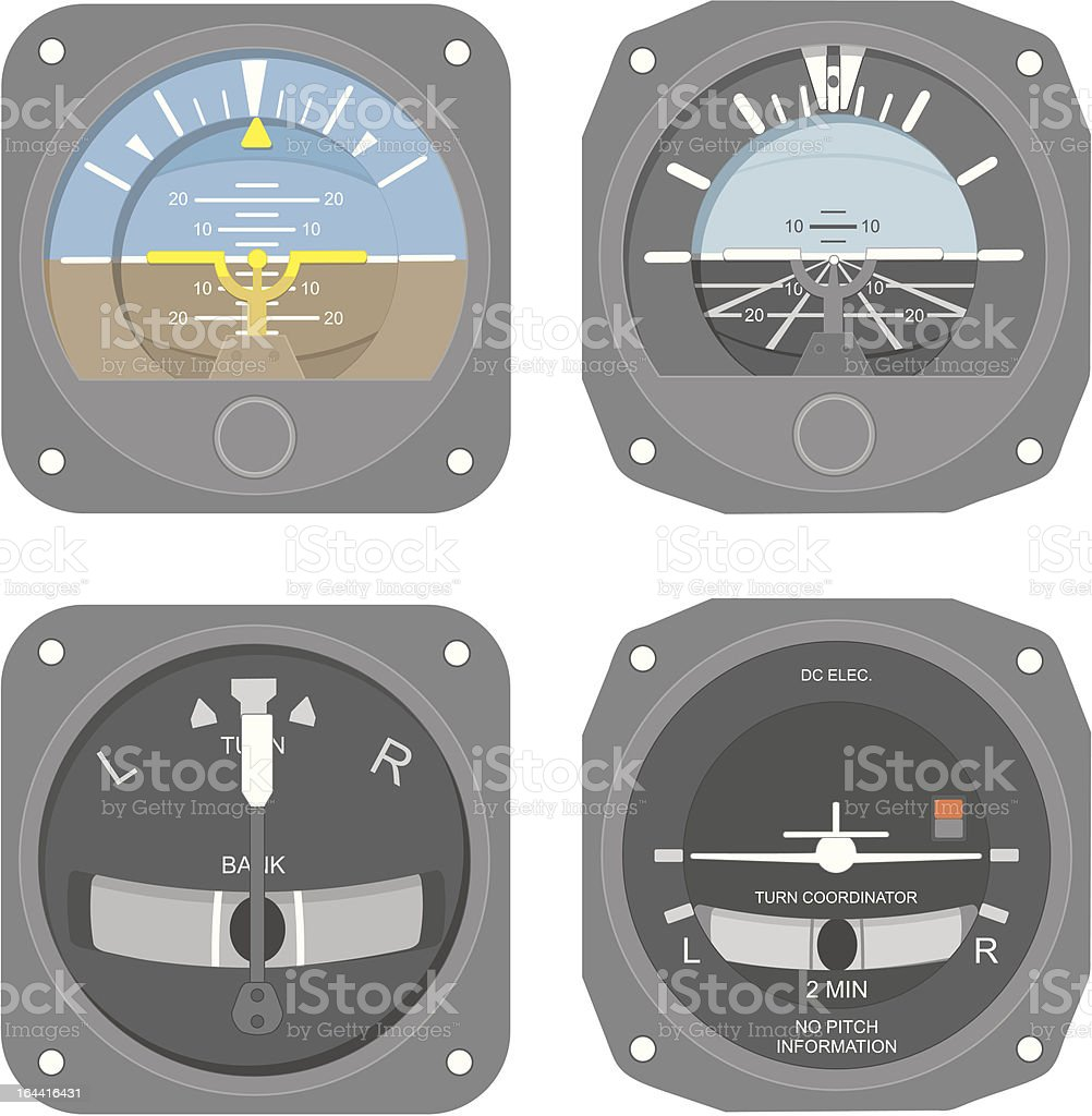 Aircraft instruments (set #1) vector art illustration