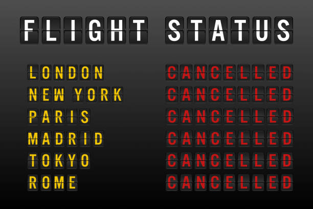 Airline flight status board with cancelled grounded flights and disruption to domestic and international air travel Flight status board with cancelled worldwide flights and passenger chaos due to global travel ban restrictions - Airline delays and cancellations on departure sign - Disruption and lockdown concept aground stock illustrations