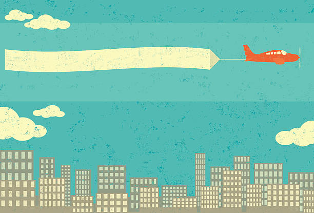 Airplane advertising vector art illustration
