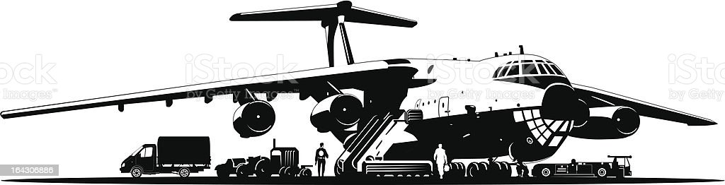 Airplane at runway vector art illustration