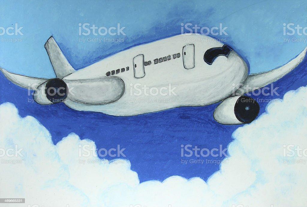jagdflugzeug einfach zeichnen, flugzeug in den blauen himmel malen stock vektor art und mehr bilder, Design ideen