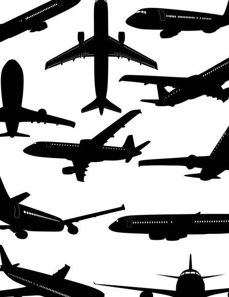 airplane silhouette - airplane stock illustrations, clip art, cartoons, & icons