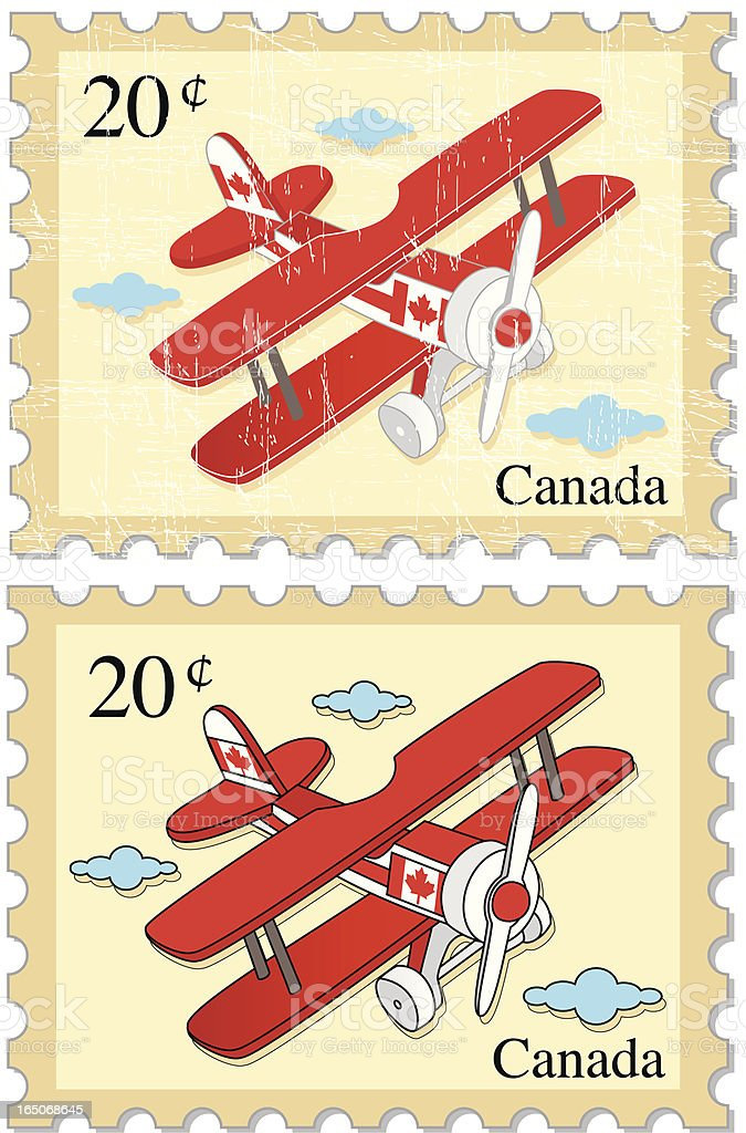 Airplane Stamps - CANADA royalty-free stock vector art
