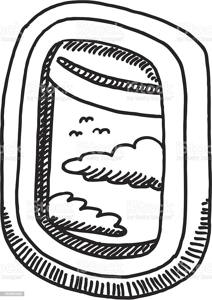 Airplane Window Clouds Drawing Stock Illustration Download Image