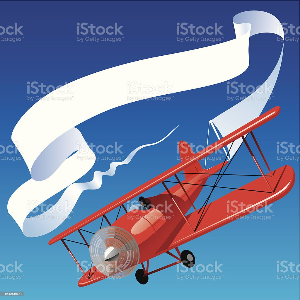 Airplane with a banner vector art illustration