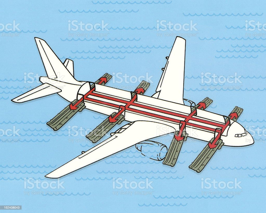 Airplane With Emergency Slides vector art illustration