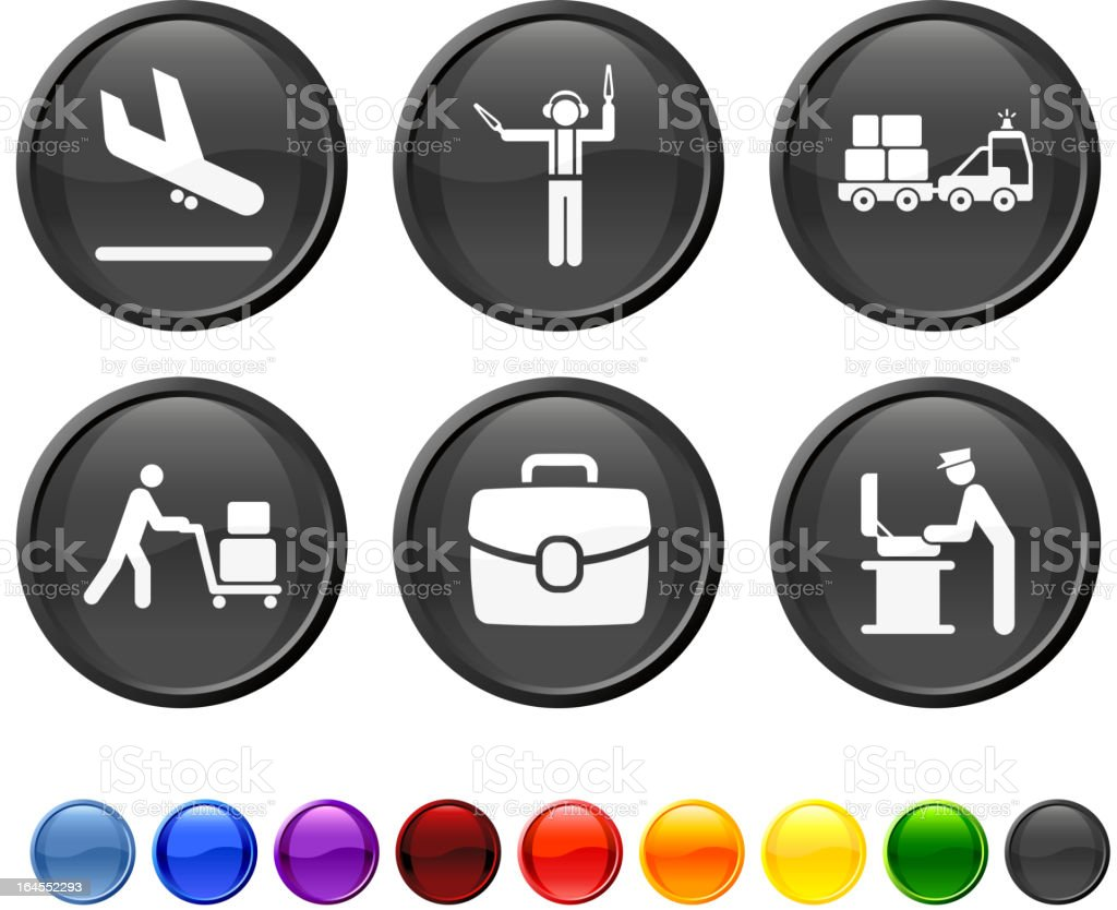 Airport Luggage royalty free vector icon set vector art illustration