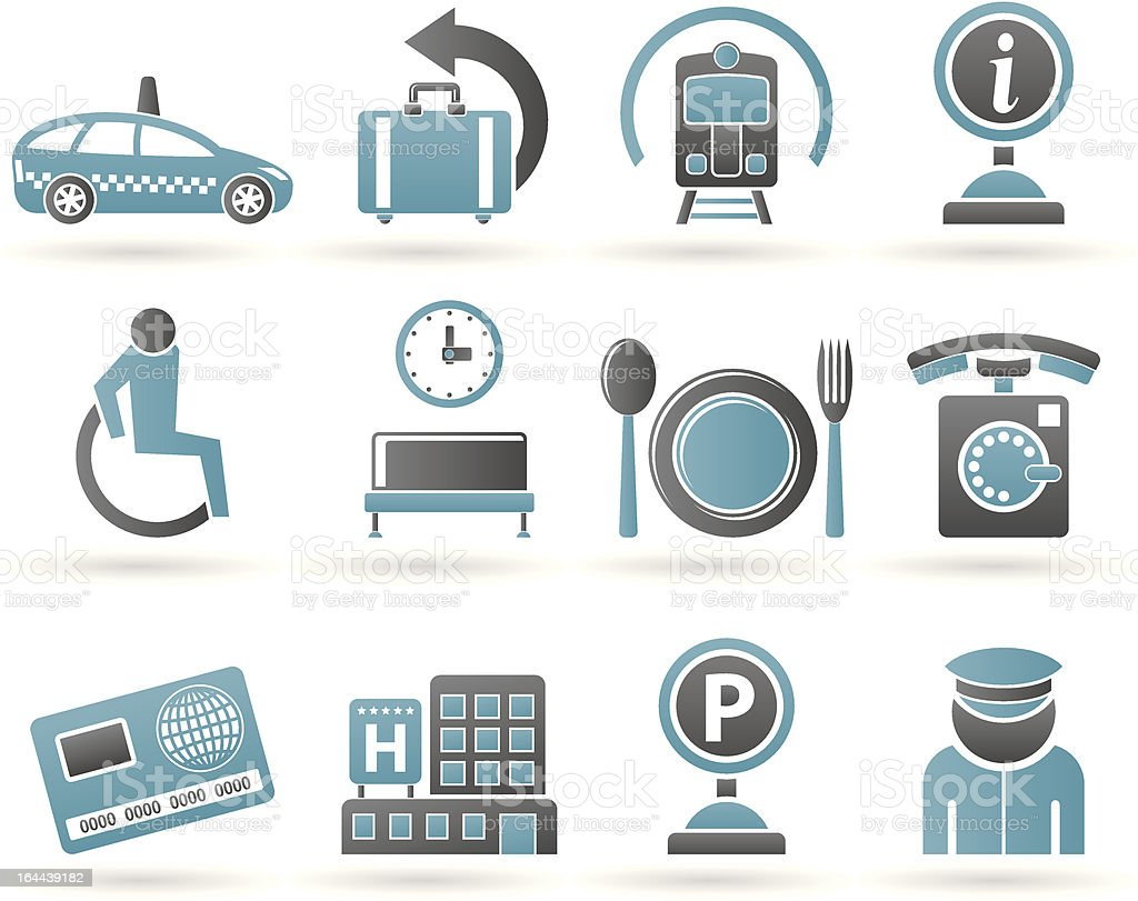airport, travel and transportation icons 2 royalty-free stock vector art
